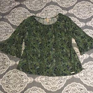 Michael Kors green paisley 3/4 belle sleeve Medium